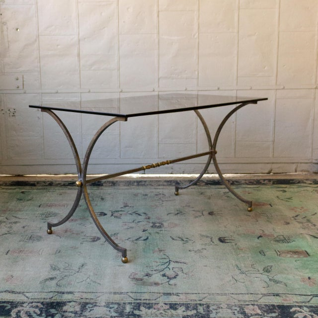 Brushed Steel and Brass End Table For Sale - Image 4 of 11