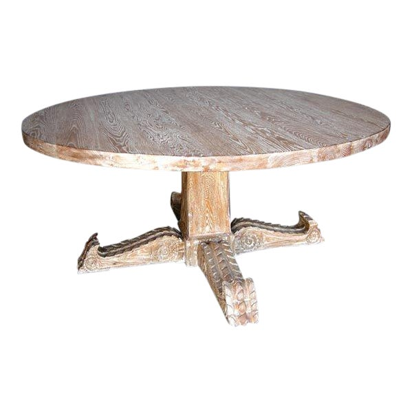 Custom Spanish Cerused Oak Pedestal Dining Table With Hand Carved Legs - Image 1 of 3