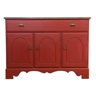 1960s Shabby Chic Red Painted Wood Server / Buffet For Sale