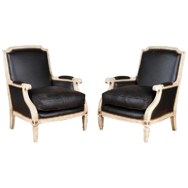 Pair Painted and Parcel Gilt Maison Jansen Black Leather Arm or Bergere Chairs For Sale - Image 13 of 13