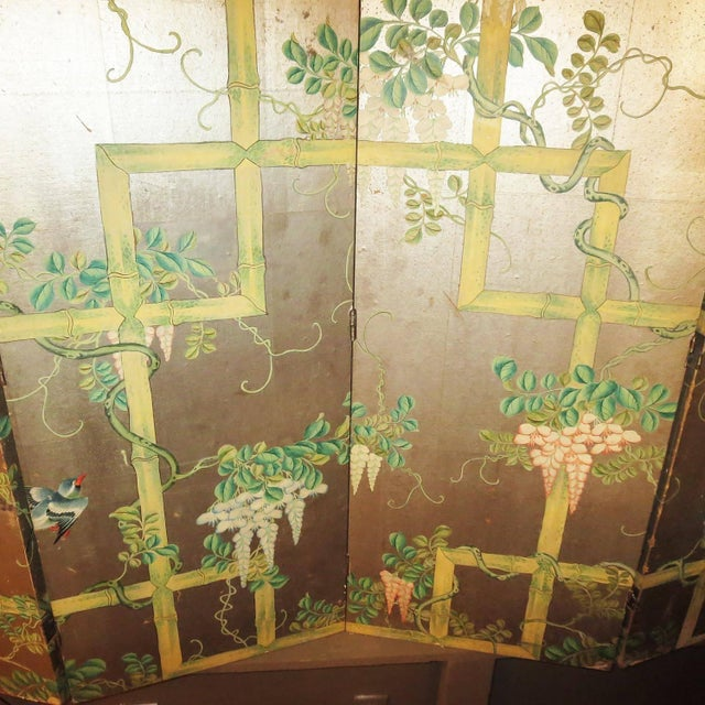 Green 19th Century Four-Panel Painted Screen of Birds and Bamboo For Sale - Image 8 of 9