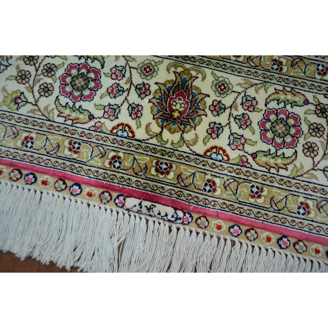 Hand Knotted Turkish Silk Rug - 4′ × 5′10″ - Image 8 of 9