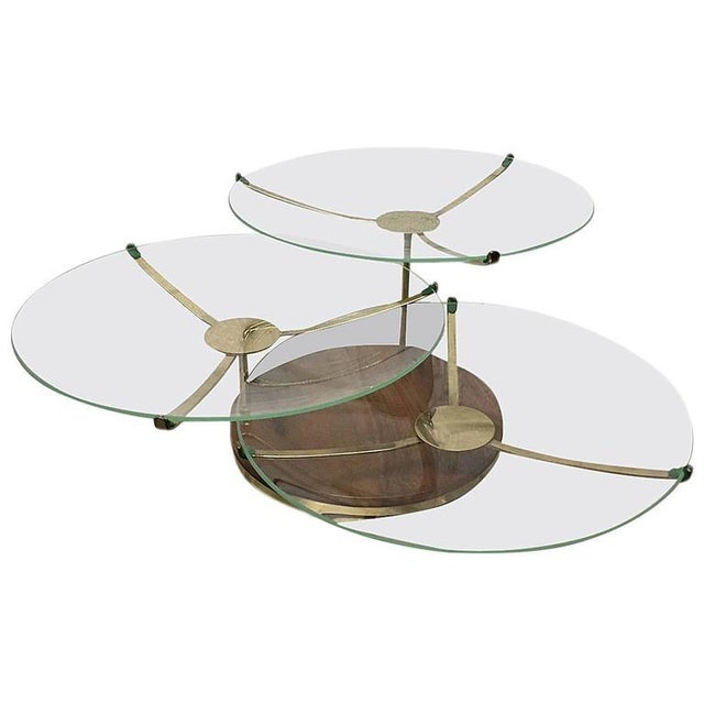 Three-Tier Walnut and Brass Swivel Serving Plates For Sale In New York - Image 6 of 6