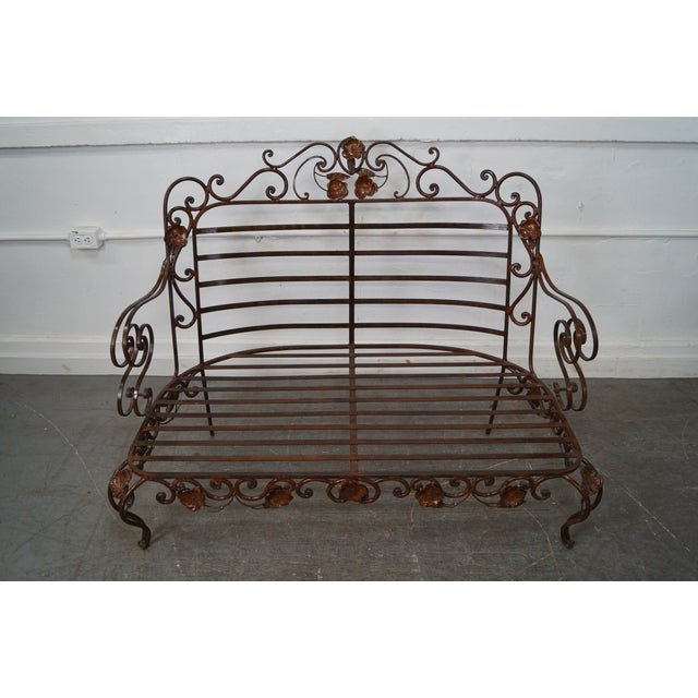 Ornate Wrought Iron Rococo Style Settee With Cushions For Sale - Image 9 of 10