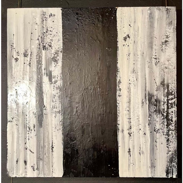 "Modern Lynn Basa Encaustic Black and White Stripe Panel ""Three Ways of Looking Black"" For Sale - Image 3 of 13"