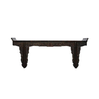 Chinese Vintage Dark Brown Dragon Carving Long Altar Console Tabl For Sale