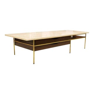 Mid Century Modern Paul McCobb Travertine Brass Wood Coffee Table 1960s 2 Drawer For Sale