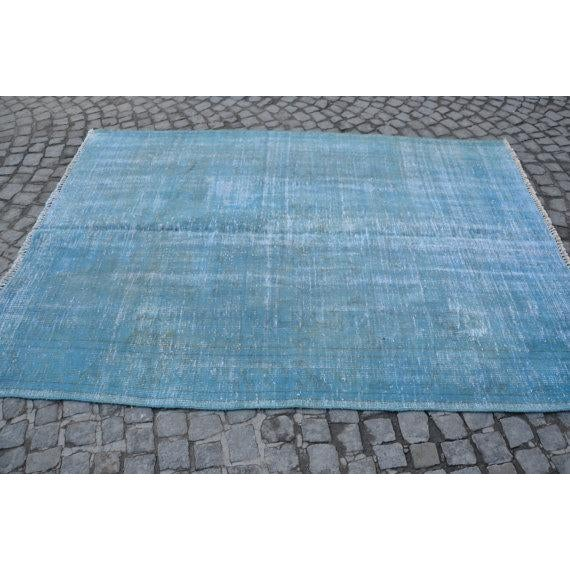 Turkish Oushak Blue Overdye Rug - 5′6″ × 7′10″ - Image 2 of 5