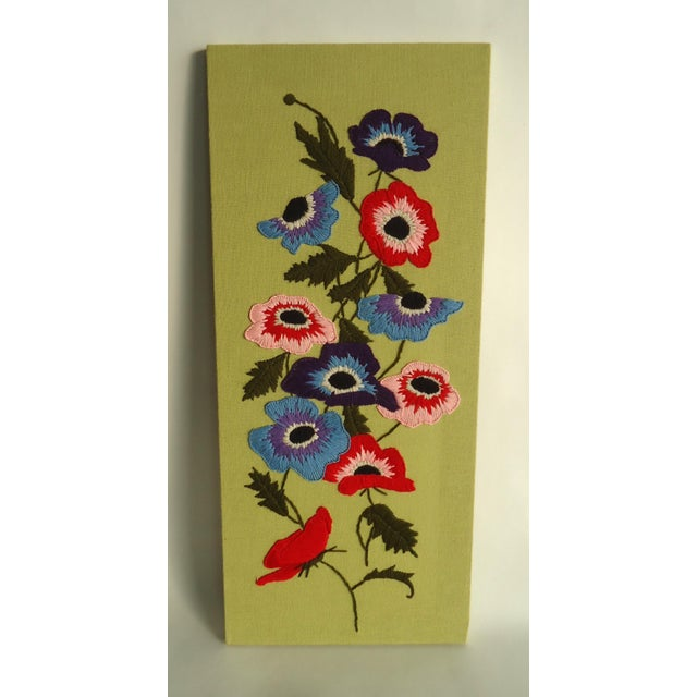 Embroidered Poppy Textile Wall Hanging For Sale - Image 4 of 4