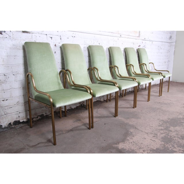 Hollywood Regency Mastercraft Hollywood Regency Brass Dining Chairs, Set of Six For Sale - Image 3 of 9