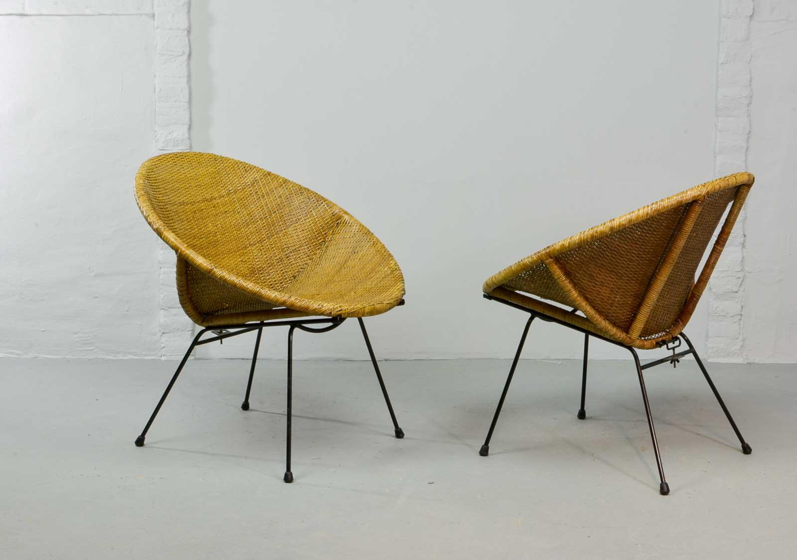 Stylish Pair Of Mid Century Dutch Design Circle Shaped Wicker Cane Cocktail  Side Chairs After
