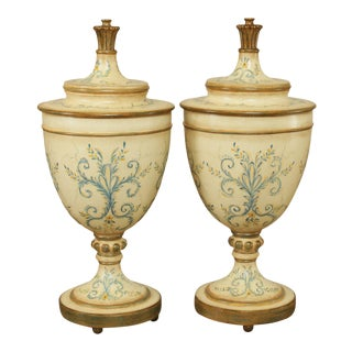 Sarried, LTD. Hand Painted Pair Decorative Lidded Vases For Sale