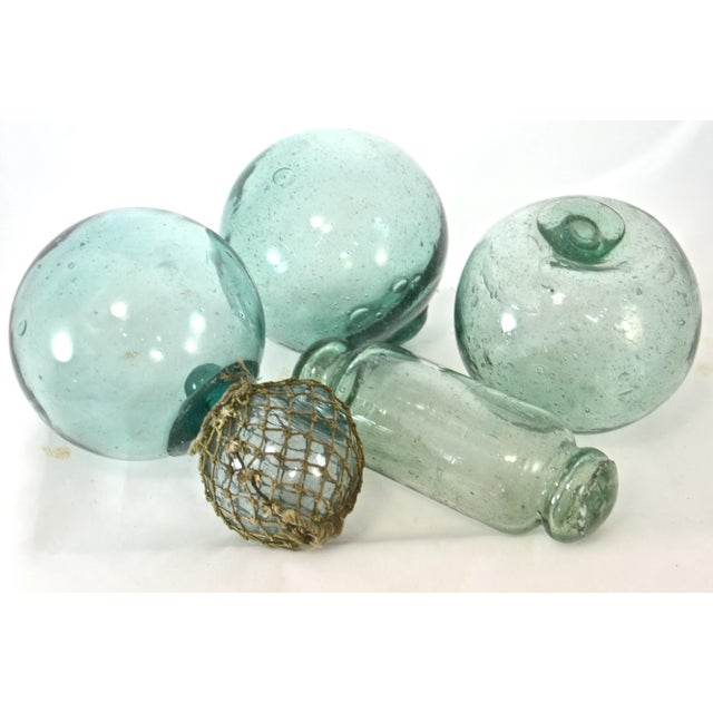 Blue Green Blown Glass Floats - Set of 5 For Sale - Image 4 of 4