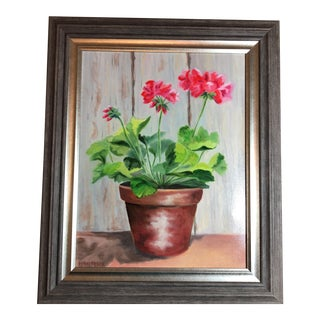Painting of Red Geraniums for Summer