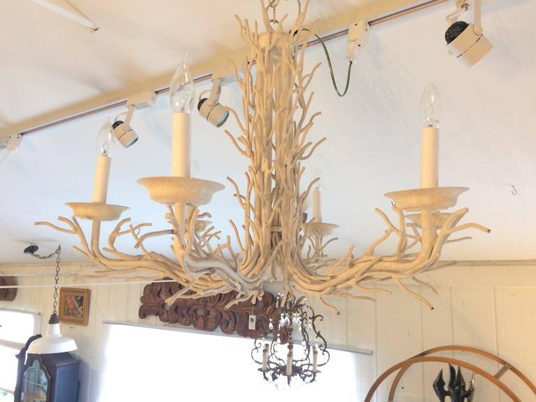 Organic Modern White Metal Faux Twig Chandelier For Sale In Philadelphia    Image 6 Of 6