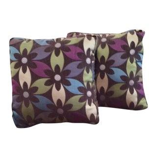 Purple Floral Boho Chic Pillows - Pair For Sale
