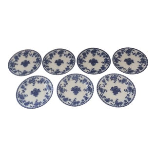 Antique Early 20th Century Flow Blue Delph Plates - Set of 7 For Sale
