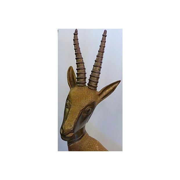 Solid Brass Antelope with Patina - Image 3 of 6