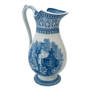 Antique Blue and White Classical Pitcher For Sale