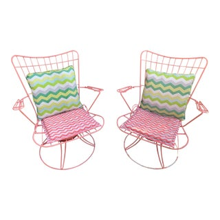 1950's Vintage Homecrest Outdoor Patio Rocker/Swivel Chairs - a Pair For Sale