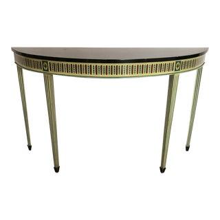 Maitland Smith Neoclassical Demi-Lune Console Table For Sale