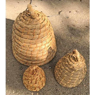 Woven Rye/Straw Beehive Baskets - Set of 3 Preview