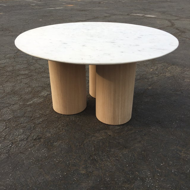 Oversized Pillar Marble Dining Table in White Oak For Sale - Image 13 of 13