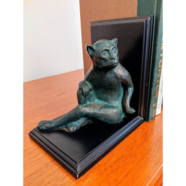 Cast Metal Monkey Bookends, a Pair For Sale - Image 4 of 7