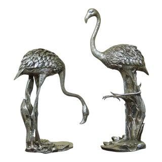 Signature Statuary Pair Silver Bronze Flamingos Statues For Sale