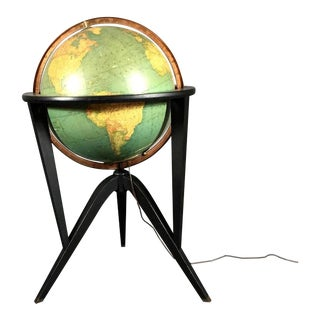 Edward Wormley Black Lacquered Illuminated Globe, USA, 1950s For Sale