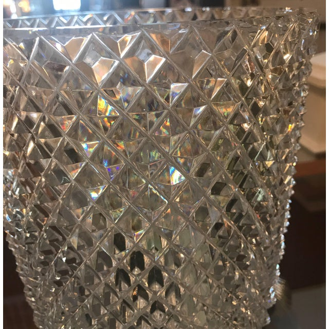 Substantial diamond cut flower vase. Beautiful all-over diamond pattern with starburst bottom. This vase is expertly cut...