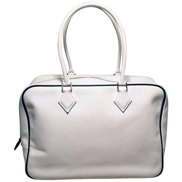 Hermes Black and White Veau Grain Leather Plume Tote Handbag For Sale - Image 9 of 9