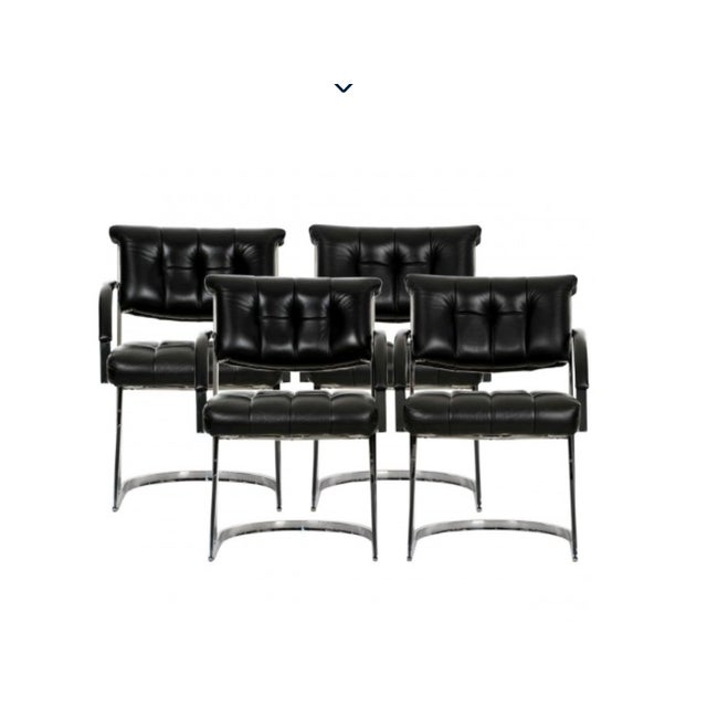 Cal-Style Vintage Modern Polished Chrome and Leather Cantilevered Dining Chairs- Set of 4 For Sale - Image 10 of 10