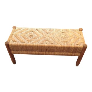 1970s Vintage Boho Woven Bench For Sale