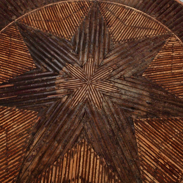 French Round Bent Willow Twig Table With Star Design Inlay - Image 5 of 9