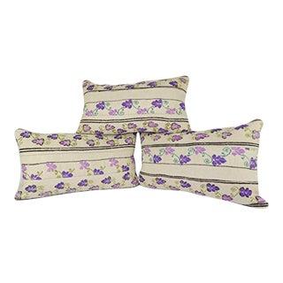 Set of Three Unique Floral Kilim Pillow Cover, Vintage Lumbar Wool Kilim Pillow 14'' X 24'' (35 X 60 Cm) For Sale