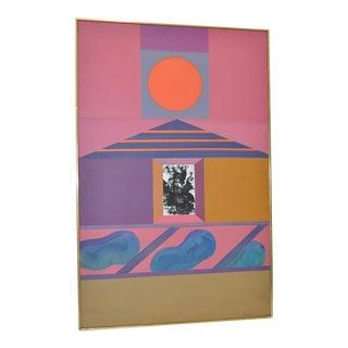 "Mid Century Erle Loran ""Sun Pyramid Ii"" Original Painting For Sale"