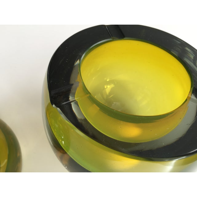 Chartreuse Glass Tea Light Bowls - A Pair - Image 6 of 6