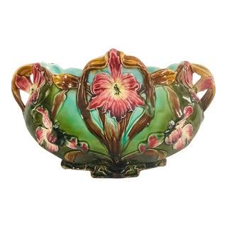 Late 19th Century Art Nouveau Majolica Jardiniere For Sale