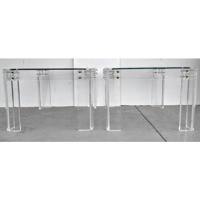 Metal Mid-Century Modern Lucite Side/Cocktail Tables With Glass Tops - a Pair For Sale - Image 7 of 12