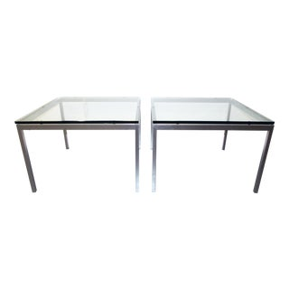 Knoll International Glass Side Tables - a Pair