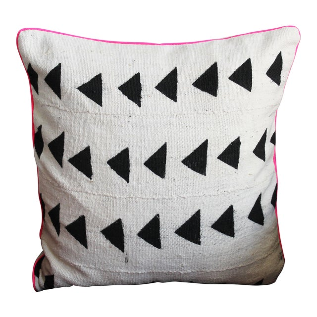 Mudcloth With Neon Trim Throw Pillow For Sale
