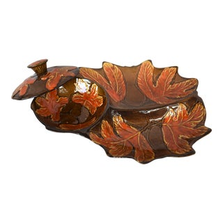Mid-Century Leaf Chip & Dip Dish For Sale
