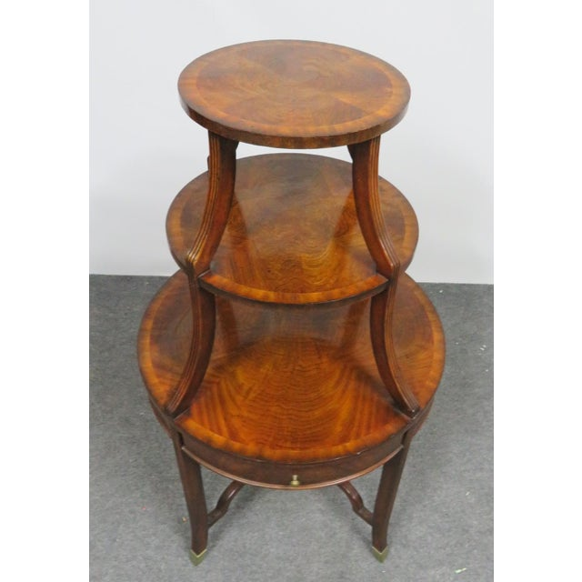 Chippendale Maitland Smith Mahogany Dumbwaiter Serving Table For Sale - Image 3 of 6