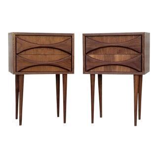 Wooden Brutalist Carved Nightstands - a Pair For Sale