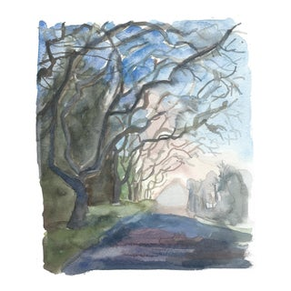 Watercolor Painting of a Tree Lined Street For Sale