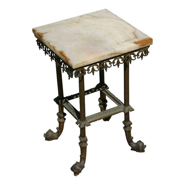 Antique Onyx & Iron Side Table For Sale