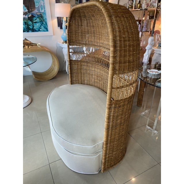 Vintage Wicker and Rattan Newly Upholstered Dome Hooded Loveseat Settee Chair For Sale - Image 11 of 13