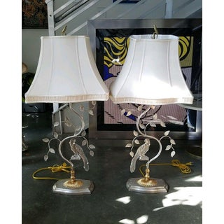 Vintage Maison Bagues Style Crystal Parrot Lamps With Shades - a Pair Preview