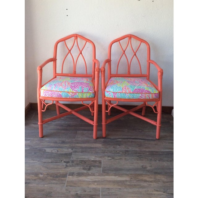 1960s Vintage Ficks Reed Coral Bamboo Rattan Armchairs - a Pair For Sale - Image 5 of 5